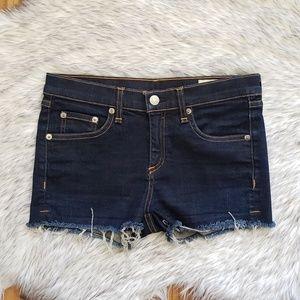 Rag & Bone Dark Wash Cut Off Denim Shorts Size 24